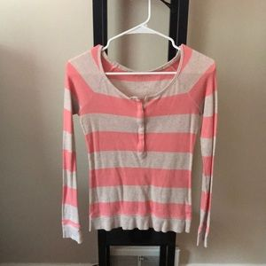 American Eagle Pink Striped Shirt